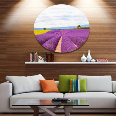 Designart Sunflower and Lavender Fields Disc Landscape Metal Circle Wall Art