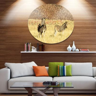 Designart Pair of Zebras in Namib DesertAnimal Metal Circle Wall Art