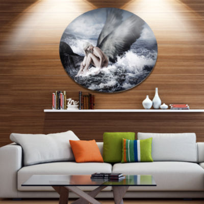 Design Art Woman with Angel Disc Oversized Abstract Metal Art