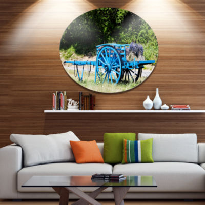 Designart Cart with Lavender in France Disc Landscape Metal Circle Wall Art