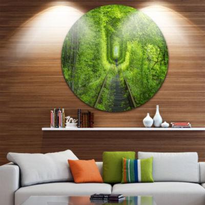 Designart Forest around Rail Way Tunnel LandscapeCircle Metal Wall Art