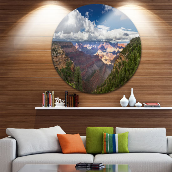 Designart US Grand Canyon in Colorado River Landscape Circle Metal Wall Art