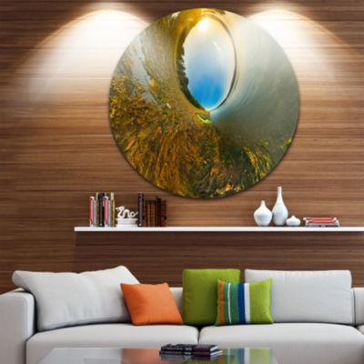 Designart Kayak in River Little Planet Landscape Circle Metal Wall Art