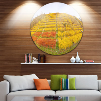Designart Vineyard Panorama in Autumn Landscape Circle Metal Wall Art