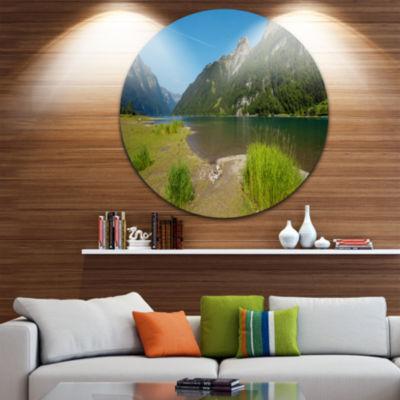 Designart Green Mountain Landscape View LandscapeCircle Metal Wall Art