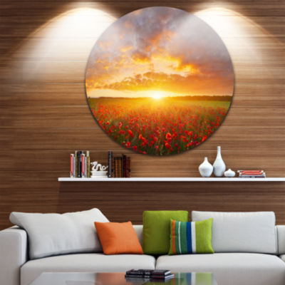 Designart Poppy Field under Bright Sunset Landscape Circle Metal Wall Art