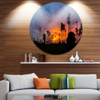 Designart Sugar Palm Tree Silhouette Landscape Circle Metal Wall Art