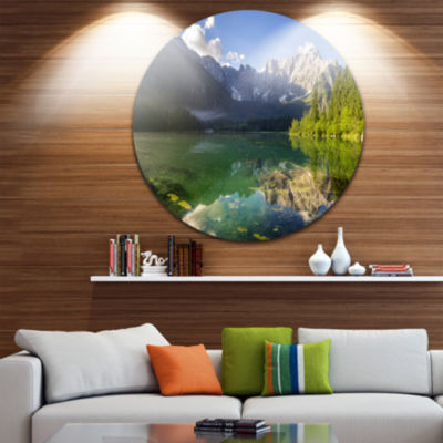 Designart Green Mountain Lake in the Alps Landscape Circle Metal Wall Art