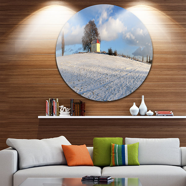 Design Art Winter Landscape with Chapel LandscapeCircle Metal Wall Art