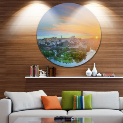 Design Art Hill over the Tagus River Spain Landscape Circle Metal Wall Art