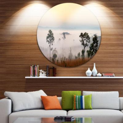 Designart Misty Morning Panorama Landscape CircleMetal Wall Art