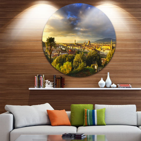 Designart Florence Sunset Aerial View Landscape Circle Metal Wall Art