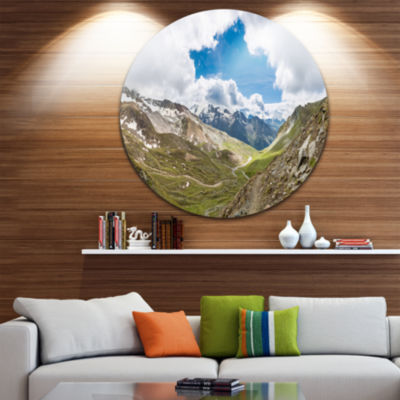 Designart Valley with Opening in Sky Landscape Circle Metal Wall Art