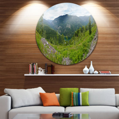 Design Art Green Mountains Panorama Landscape Circle Metal Wall Art