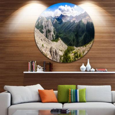 Designart Rocky Mountains Panorama Landscape Circle Metal Wall Art