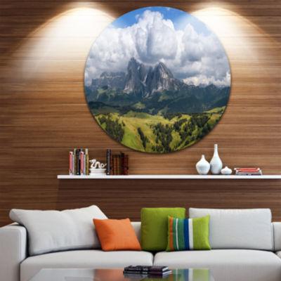 Designart Sassolungo Mountain Panorama Landscape Circle Metal Wall Art