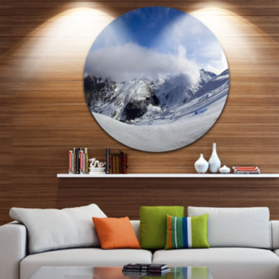 Designart Winter in Alps Panorama Landscape CircleMetal Wall Art