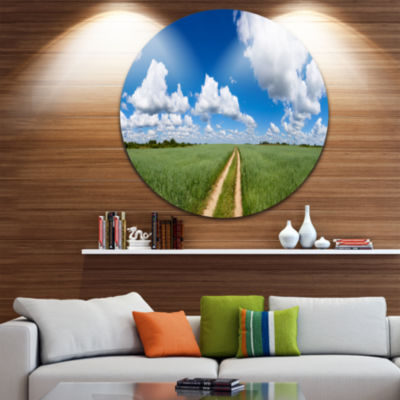 Designart Path in Bright Summer Panorama LandscapeCircle Metal Wall Art