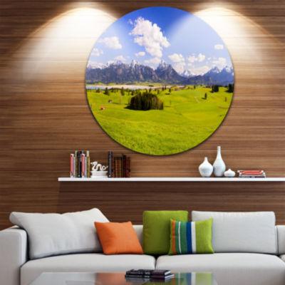 Designart Green Bavaria Field Panorama Landscape Circle Metal Wall Art