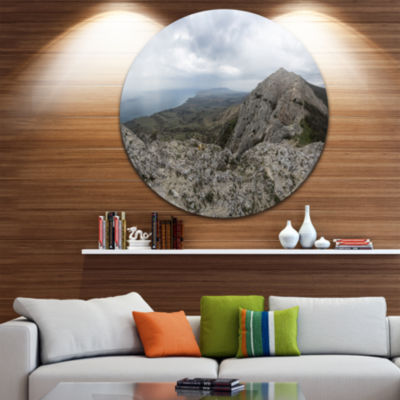 Designart Rocky Mountain Peak Panorama Landscape Circle Metal Wall Art