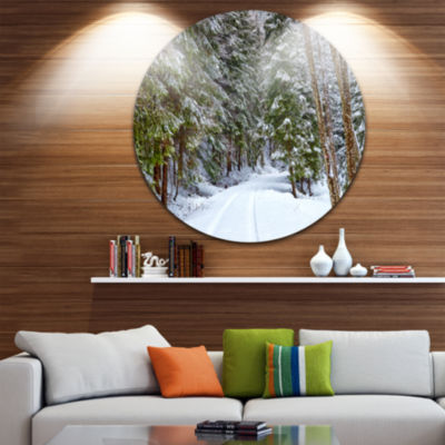 Designart Snowy Road in the Forest Landscape Circle Metal Wall Art
