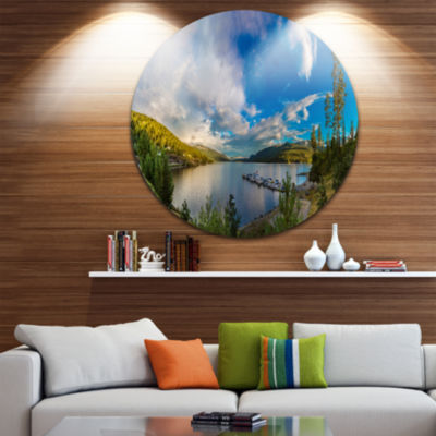 Designart Sognefjord in Norway Panorama LandscapeCircle Metal Wall Art