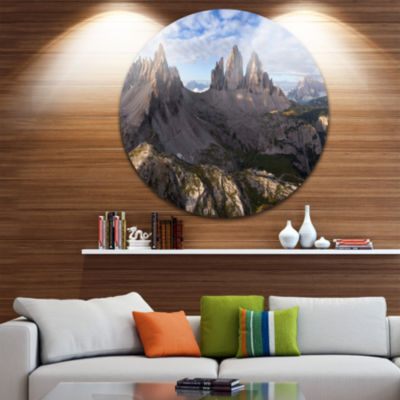 Designart Tre Cime and Monte Paterno Landscape Circle Metal Wall Art