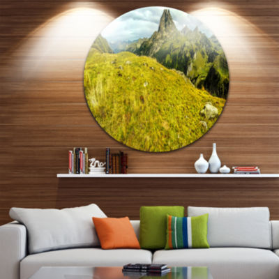 Designart Bright Green Mountain Panorama LandscapeCircle Metal Wall Art