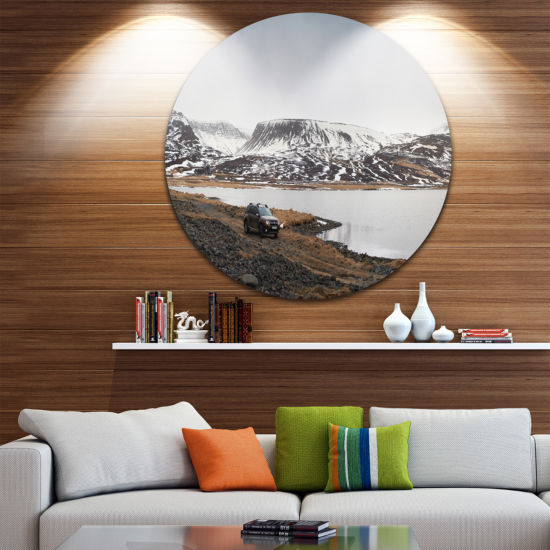 Designart SUV Road Trip Adventure Landscape CircleMetal Wall Art
