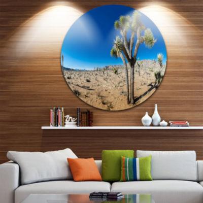 Designart Joshua Tree in Open Desert Landscape Circle Metal Wall Art