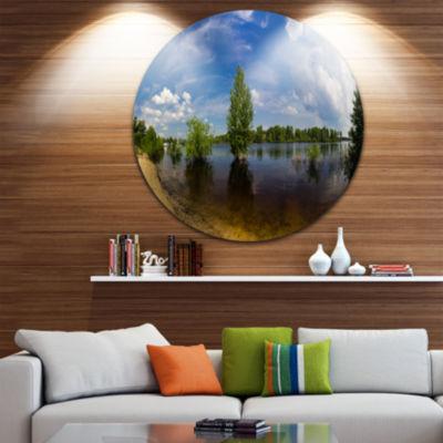 Designart Small Flood Panorama Landscape Circle Metal Wall Art