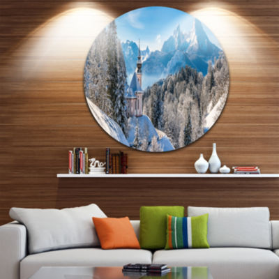 Design Art Winter in the Bavarian Alps Landscape Circle Metal Wall Art