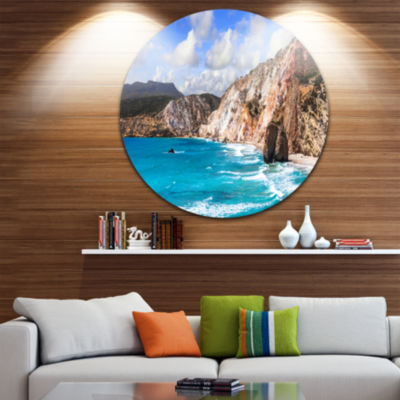Designart Greek Islands Scenic Beach es LandscapeCircle Metal Wall Art