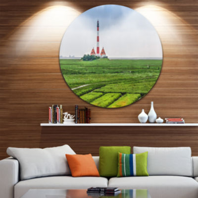 Designart Westerheversand Lighthouse Panorama Landscape Circle Metal Wall Art
