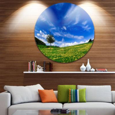 Designart Spring Landscape Green Fields LandscapeCircle Metal Wall Art