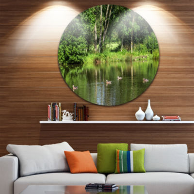 Designart Bushes and Trees in River Bank LandscapeCircle Metal Wall Art