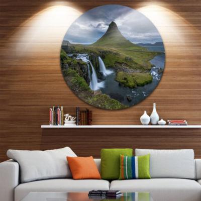 Designart Beautiful Kirkjufellsfoss Waterfall Landscape Circle Metal Wall Art