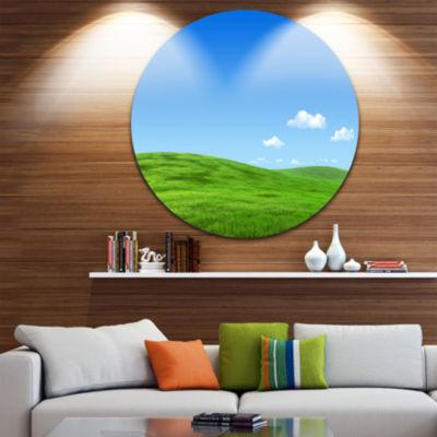 Designart Calm Green Meadow Landscape Circle MetalWall Art