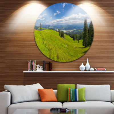 Designart Summer in Ceahlau Mountains Landscape Circle Metal Wall Art