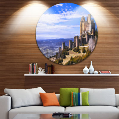 Designart Medieval Loarre Castle Panorama Landscape Round Circle Metal Wall Art