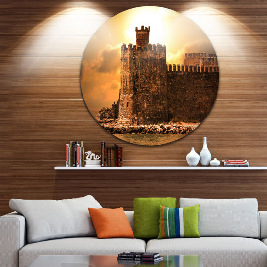 Designart Old Castle at Sunset Landscape Round Circle Metal Wall Art