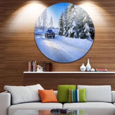 Designart SUV Car Though Snowy Winter Landscape Round Circle Metal Wall Art