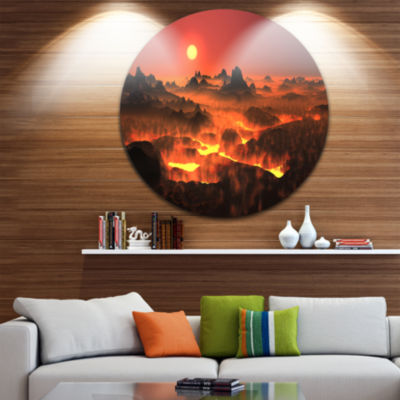 Designart Burning Volcano Country Landscape RoundCircle Metal Wall Art