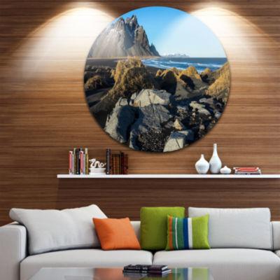 Designart Rocky Stokksness Iceland Landscape RoundCircle Metal Wall Art