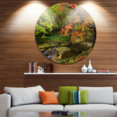 Designart Fall Trees in Bright Colors Landscape Round Circle Metal Wall Art