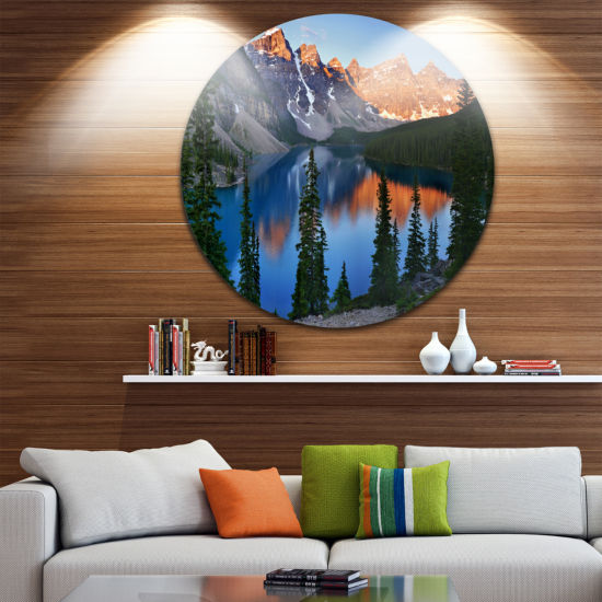 Designart Beautiful Moraine Lake Canada LandscapeRound Circle Metal Wall Art