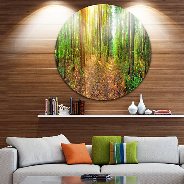 Design Art Dense Forest Panorama Landscape Round Circle Metal Wall Art