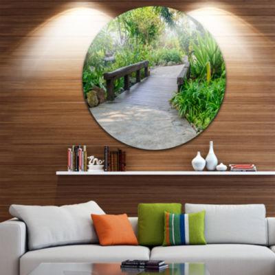 Designart Stone Pathway into Garden Landscape Round Circle Metal Wall Art