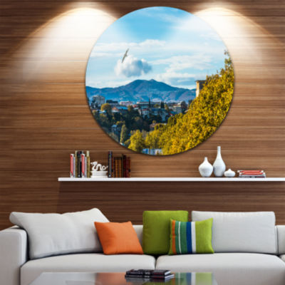 Designart Old Town and Hills in Tbilisi LandscapeRound Circle Metal Wall Art