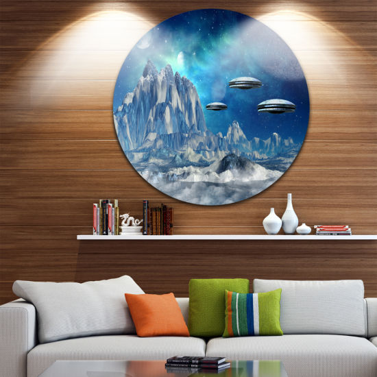 Designart Blue Alien Planet Landscape Round CircleMetal Wall Art